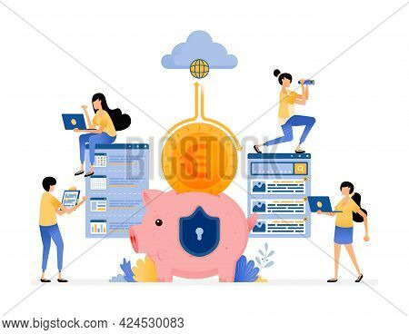 Vector Design Of Cloud Banking Protection And Security System In Efficiency To Collect And Manage Cu