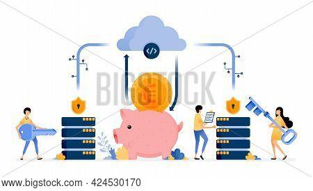 Vector Design Of Database And Cloud Banking Security System Technology To Protect Customer Personal