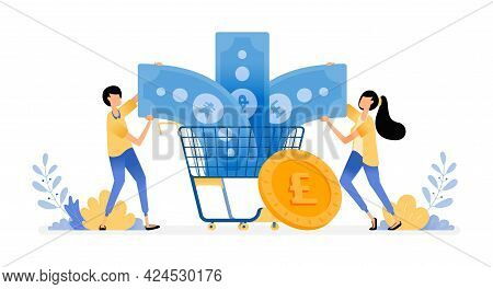 Vector Design Of Manage Finance For Consumption And Spending. Grocery Store Shopping For Currencies