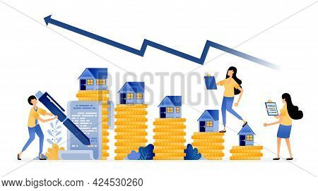 Vector Design Of Increase In Housing Market Investment Prices With Good Returns. Mortgage Purchase A