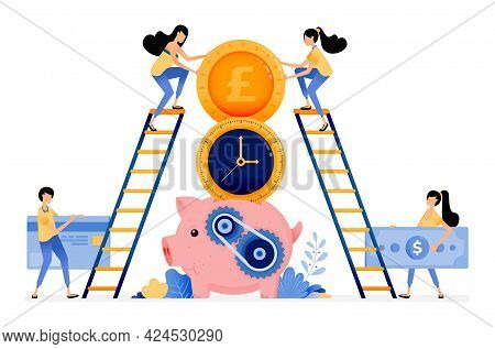 Vector Design Of Best Time To Save And Invest. Banking Financial Services System For Young. Piggy Ba
