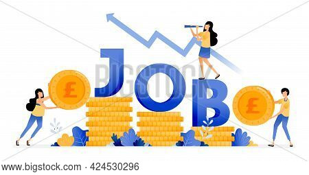 Vector Design Of Increase In Number Of Workers In Financial Sector. Increase Job Seekers Income. Eco