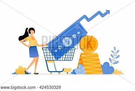 Vector Design Of Rising Purchasing Investments In Secondary Financial Market. Mutual Funds Deposit O