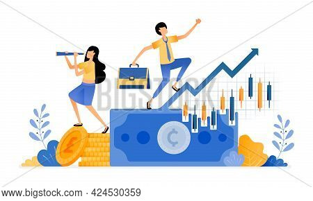 Vector Design Of Increase Candle Sticks Investments In Financial Sector. Secondary Market Trading. P