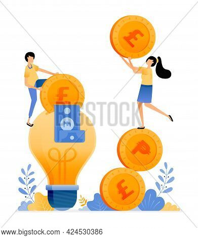 Vector Design Of Prices For Saving Ideas And Financial Literacy. People Holding Coins And Put Money