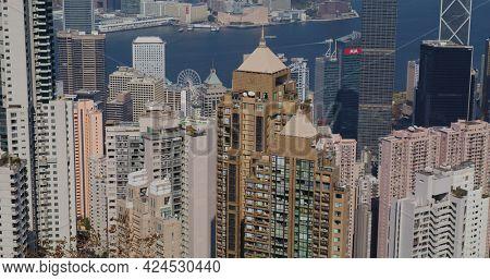 Victoria Peak, Hong Kong 05 February 2021: Hong Kong city view