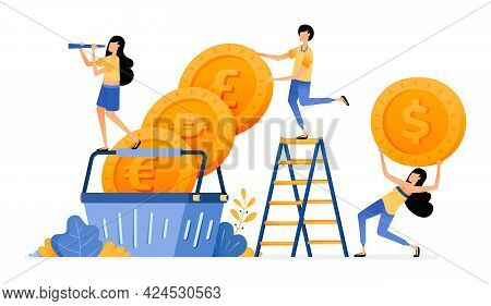 Vector Design Of Foreign Currency Coins In Basket. Buying Investment Increases In Financial Markets