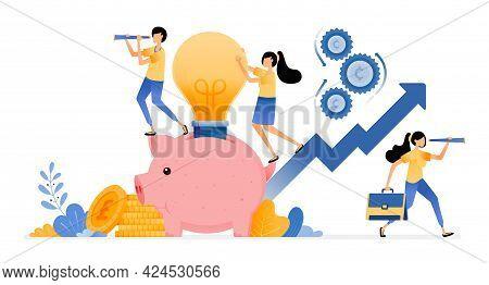 Vector Design Of Saving Ideas For Increase Investment In Future. Piggy Bank Light Bulb. Financial Ba