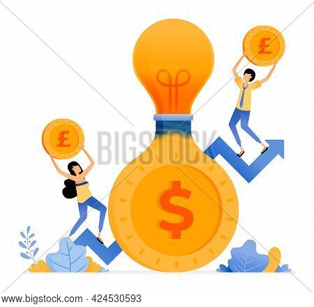 Vector Design Of Saving Ideas For Increase Investment In Future. Light Bulb That Comes Out Of Coin.