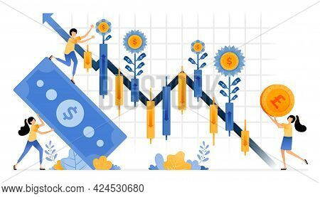 Vector Design Of Capital Gain Harvest On Investments In Financial Stocks. Secondary Market Candlesti