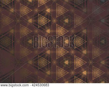 Geometric Abstract Burgundy With Metallic Gold Tint Textured Kaleidoscopic Hexagonal Pattern. Symmet
