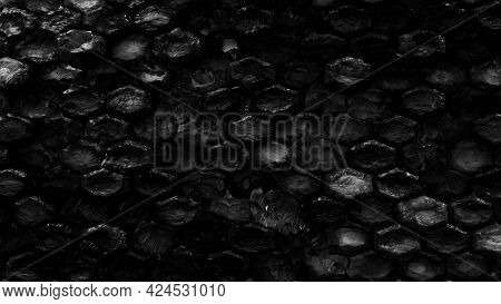 Black Rock Hexagonal Texture. Abstract Of Stone Layers. Nature Background. 3D Rendering.