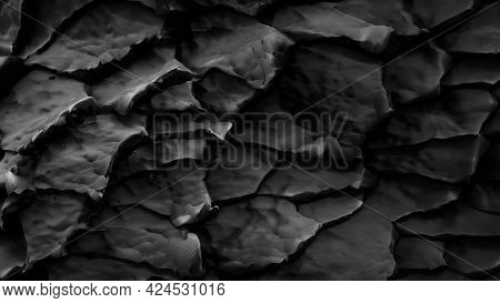 Black Rock Texture. Abstract Of Stone Layers. Nature Background. 3D Rendering.
