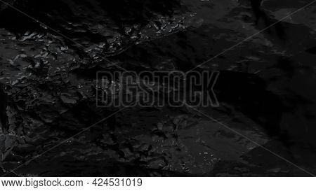 Black Rock Texture. Abstract Of Stone Wave. Nature Background. 3D Rendering.
