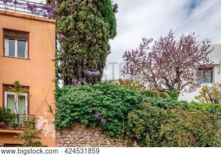 Residential Buildings On The Slopes Of Lycabettus Hill, In Kolonaki District, Athens, Greece. Bloomi