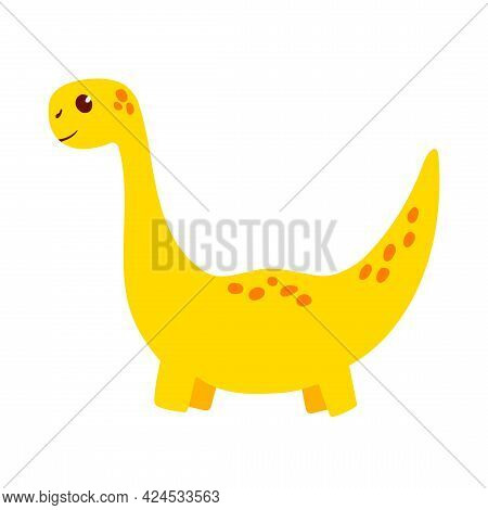 Cute Little Baby Dinosaur Barosaurus. The Vector Illustration Is Isolated On A White Background. Din