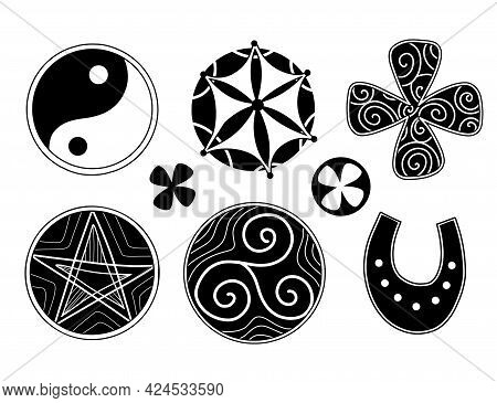 Set Of Silhouettes Of Lucky Charms. Triskelion, Yin Yang, Clover And Stars. Vector Black Icons For D