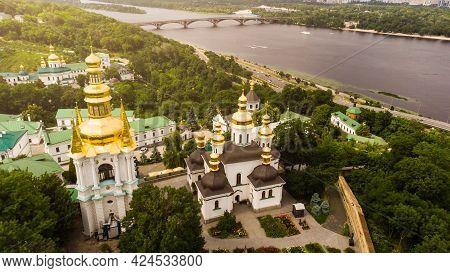 Panorama Of Kiev With Dniepr River, Kiev-pechersk Lavra Monastery. Kiev, Ukraine.