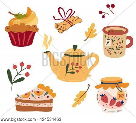 Cozy Tea Party. Tea Set: Teapots, Pumpkin Pie, Muffin, Cup Of Hot Tea, Jam And Cinnamon. Tea Service