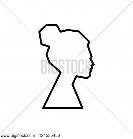 Silhouette Women In Profile Black Icon. Sketch Of Female Face Or Human Head. Trendy Flat Isolated Sy