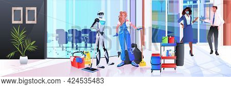 Robotic Janitor With Woman Cleaner Robot Vs Human Working Together In Office Cleaning Service Artifi