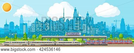 Modern Railway Station With High Speed Train. Platform With Schedule. Super Streamlined Train. Passe