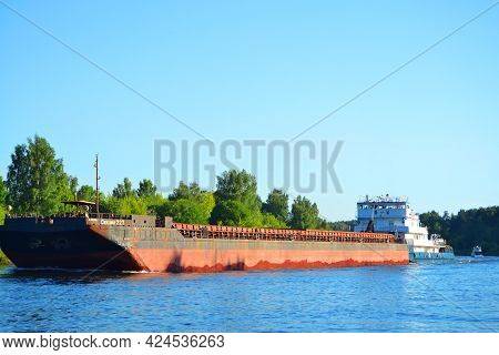 Moscow, June 19, 2021.a Large Old Barge Ship With The Inscription: Section 227, Goes On The River, E