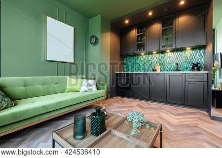 Interior design of small elegant apartment home staging