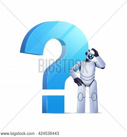 Frustrated Robot Cyborg Standing Near Question Mark Help Support Service Faq Problem Artificial Inte