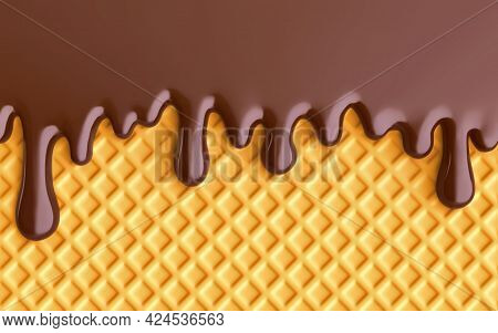 Chocolate Ice Cream, Melted Chocolate And Wafer Background. 3d Rendering