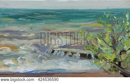 Sea Oil Painting. Abstract Turquoise Seascape. Impressionism, Plein-air Sketch, Original Work. The C