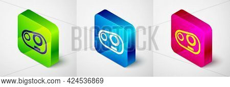 Isometric Car Headlight Icon Isolated On Grey Background. Square Button. Vector