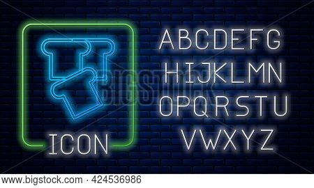 Glowing Neon Bread Toast For Sandwich Piece Of Roasted Crouton Icon Isolated On Brick Wall Backgroun