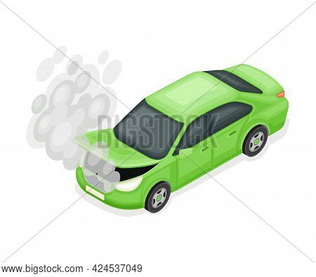 Car Or Motor Vehicle With Open Hood And Smoke Having Breakdown Needed Repair Service Isometric Vecto