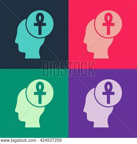Pop Art Cross Ankh Icon Isolated On Color Background. Vector