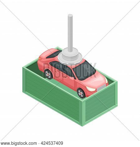 Car Or Motor Vehicle Service With Operation And Maintenance Procedure Isometric Vector Illustration