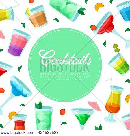 Cocktail Banner With Drinks And Beverage Poured In Glass With Straw And Umbrella Vector Template