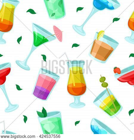 Cocktail Bar With Drink And Beverage Poured In Glass With Straw And Umbrella Vector Seamless Pattern