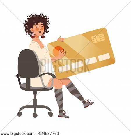 Young Woman Sitting With Credit Card As Victim Of Cybercriminal Committing Network Crime Harming Fin