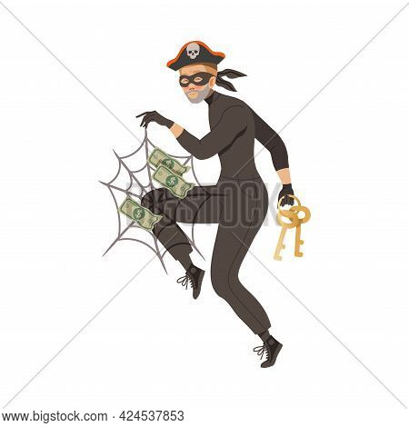 Man Cybercriminal Wearing Black Mask Committing Network And Computer Crime Harming Security And Fina