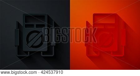 Paper Cut Ampere Meter, Multimeter, Voltmeter Icon Isolated On Black And Red Background. Instruments