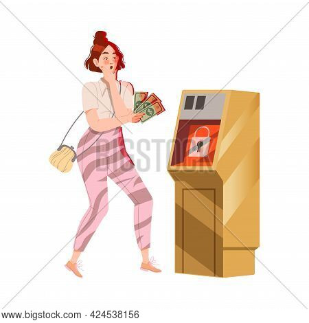 Scared Woman In Front Of Atm Machine With Dollar Banknote As Victim Of Cybercriminal Committing Netw