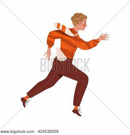Young Male With Empty Pocket Trotting And Running Ahead In A Hurry Chasing Someone Vector Illustrati