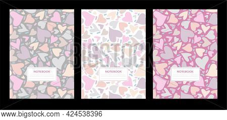 School Notebook Cover. Set College Notebooks. Design Cover Book. Pattern Of Multicolored Hearts. Vec