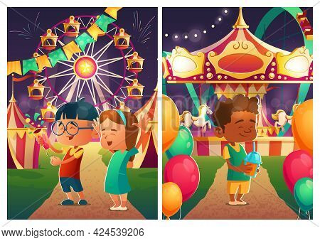Happy Kids In Carnival Funfair At Night. Amusement Park With Circus Tent, Rollercoaster, Carousel, F