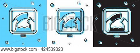 Set Drawbridge Ahead Icon Isolated On Blue And White, Black Background. Information Road Sign. Vecto