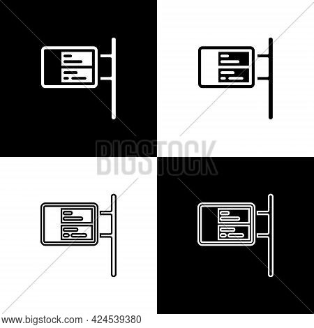 Set Public Transport Board Icon Isolated On Black And White Background. Mechanical Scoreboard. Info