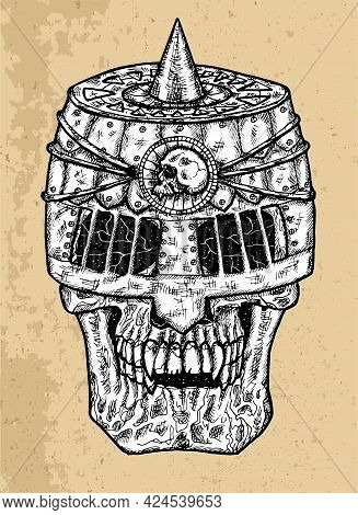 Textured Black And White Scary Illustration Of Vector Skull Wearing Knight Helm.  Mystic Isolated Dr