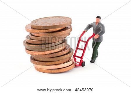 Minature Figure Moving A Stack Of Coins