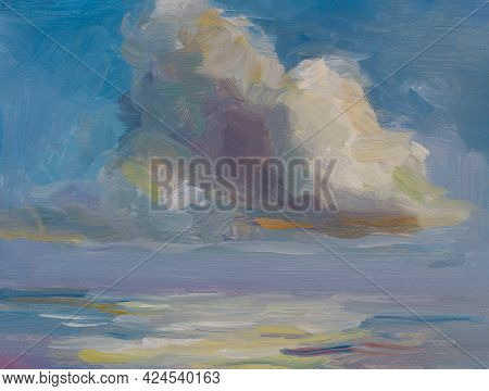 Cloud Sea Oil Painting. Abstract Blue Seascape With Cumulus Clouds. Impressionism, Plein-air Etude.